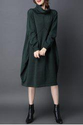 Cowl Neck Oversized Knitted Dress - BLACKISH GREEN
