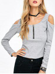 Scoop Neck Cold Shoulder Zipper T-Shirt