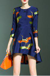 Crane Print High Low Dress - BLUE S