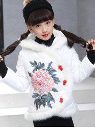 Girls Hooded Floral Embroidered Jacket -