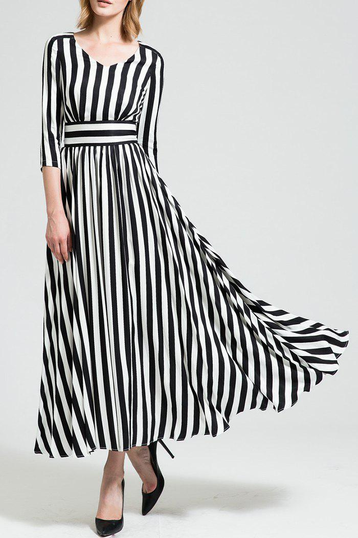 Sale Maxi A Line Striped Dress with Sleeves