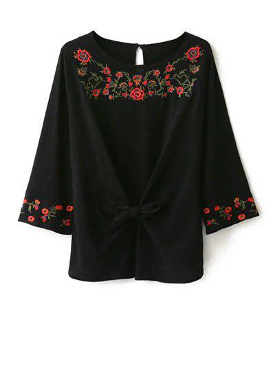 Fashion Mexican Embroidered Front Knot Blouse
