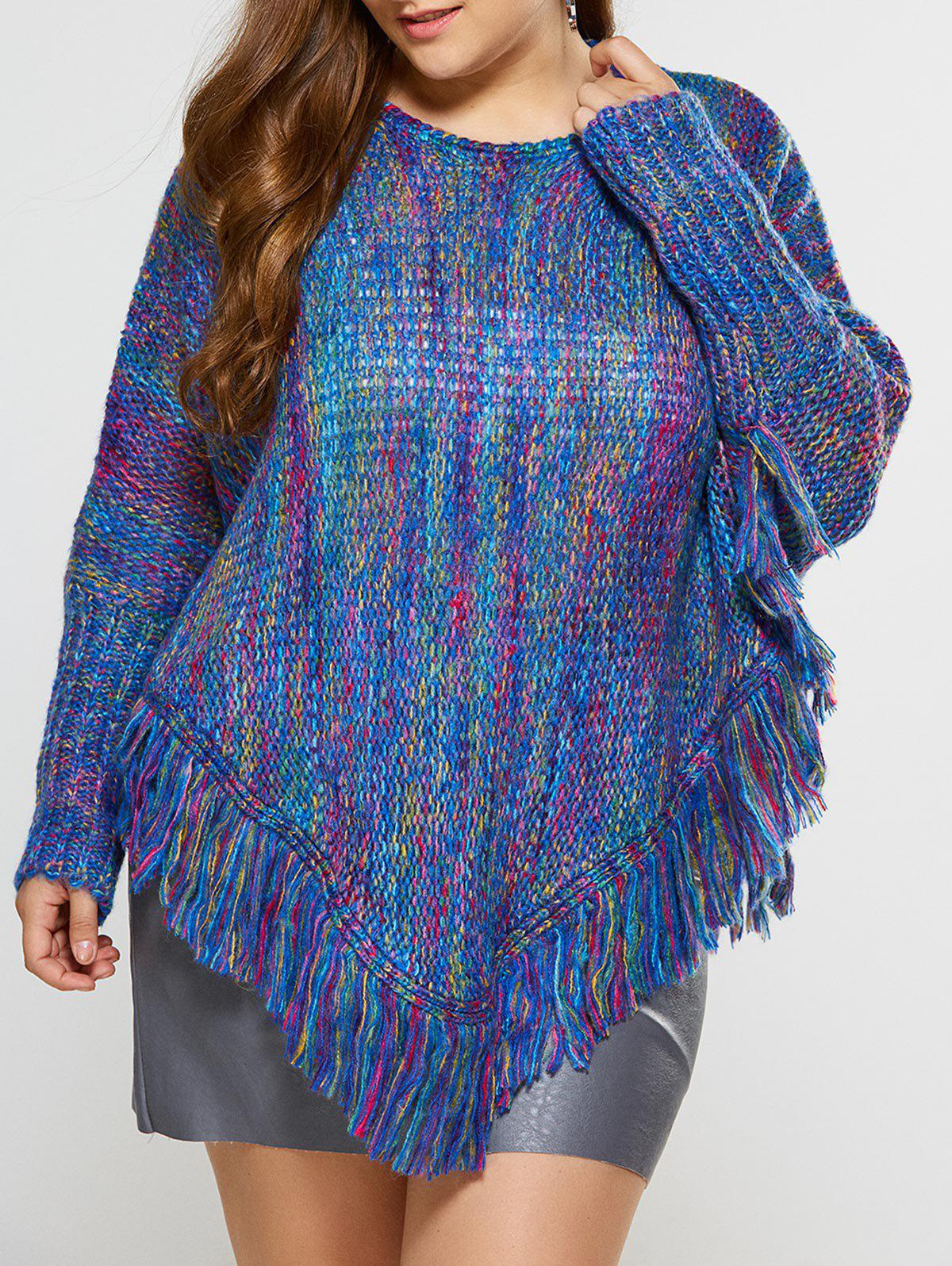 Asymmetric Fringe Poncho SweaterWOMEN<br><br>Size: 3XL; Color: BLUE; Type: Pullovers; Material: Polyester; Sleeve Length: Full; Collar: Crew Neck; Style: Casual; Pattern Type: Others; Season: Fall,Spring,Winter; Weight: 0.550kg; Package Contents: 1 x Sweater;