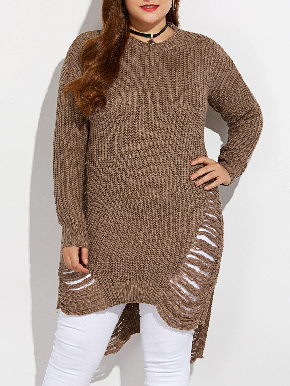 High Low Ripped Plus Size Crew Neck SweaterWOMEN<br><br>Size: XL; Color: LIGHT COFFEE; Type: Pullovers; Material: Polyester; Sleeve Length: Full; Collar: Round Neck; Style: Casual; Pattern Type: Solid; Season: Fall,Spring,Winter; Weight: 0.450kg; Package Contents: 1 x Sweater;