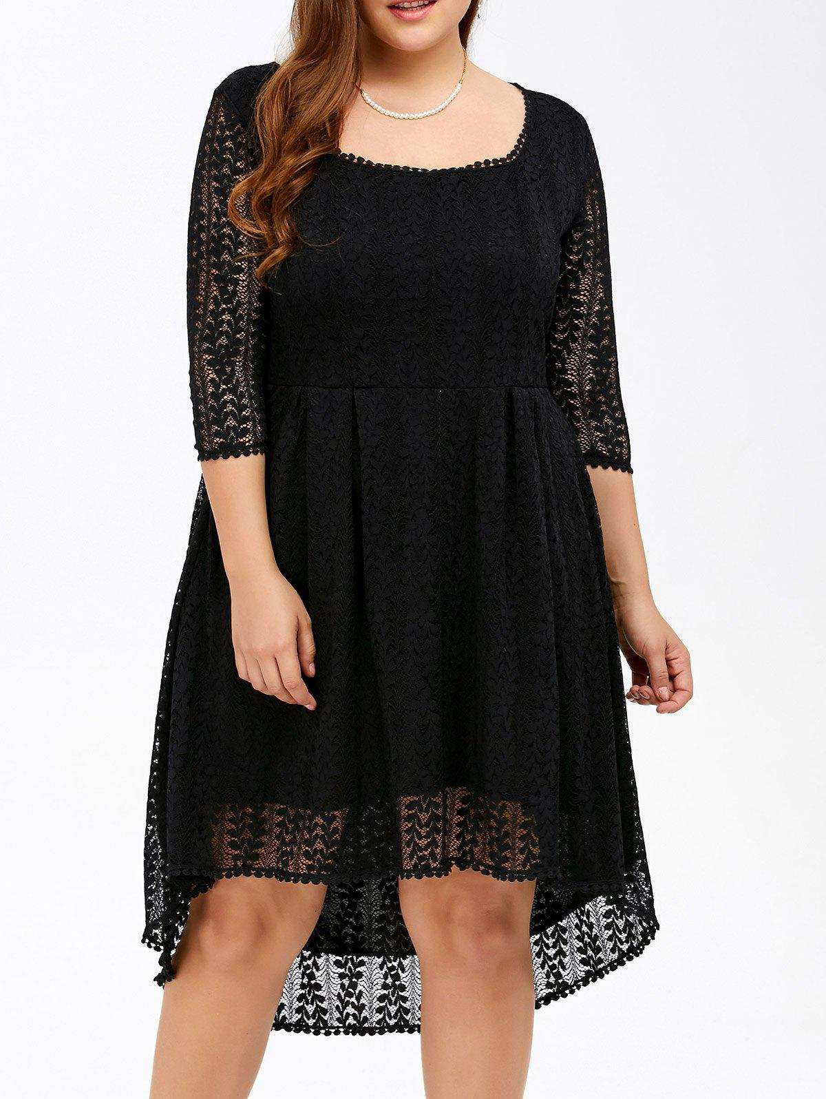 Plus Size Midi High Low A Line Lace Dress With SleevesWOMEN<br><br>Size: 7XL; Color: BLACK; Style: Casual; Material: Polyester; Silhouette: A-Line; Dresses Length: Mid-Calf; Neckline: Square Collar; Sleeve Length: 3/4 Length Sleeves; Pattern Type: Solid; With Belt: No; Season: Fall,Spring; Weight: 0.400kg; Package Contents: 1 x Dress;