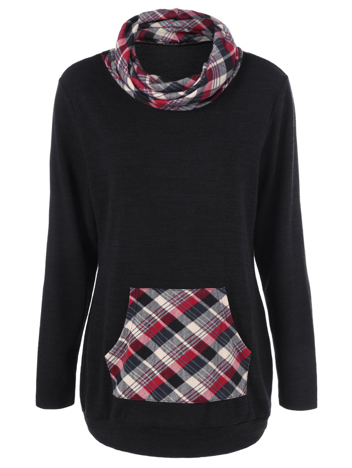 Latest Elbow Patch Plaid Trim Sweatshirt