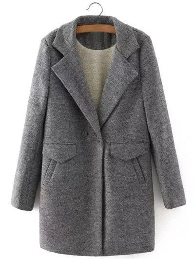 Discount One Button Sherpa Fleece Spliced Coat