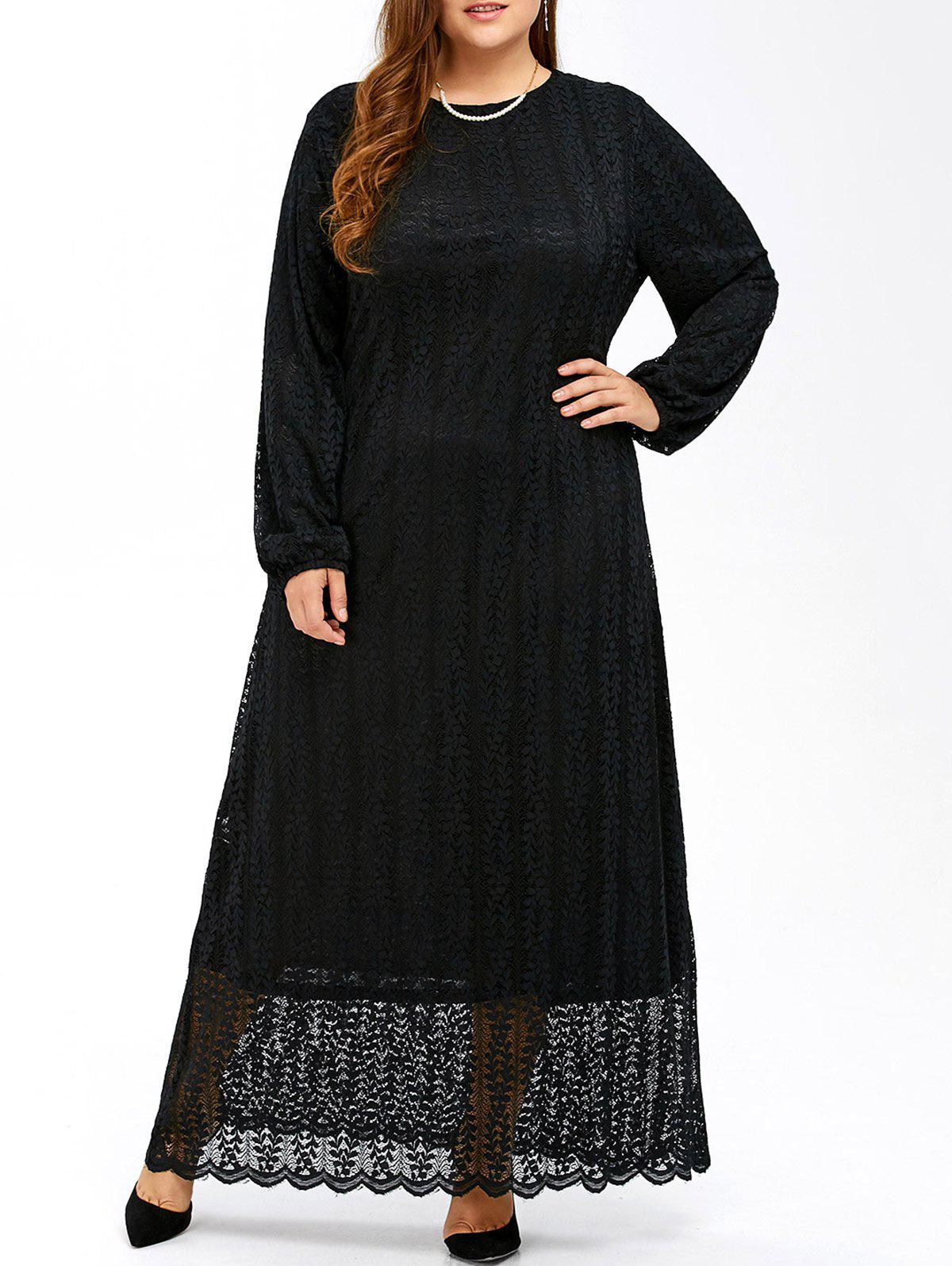 Store Plus Size Maxi Long Sleeve Lace Dress