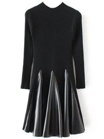 Fashion Long Sleeve Ribbed Skater Sweater Dress