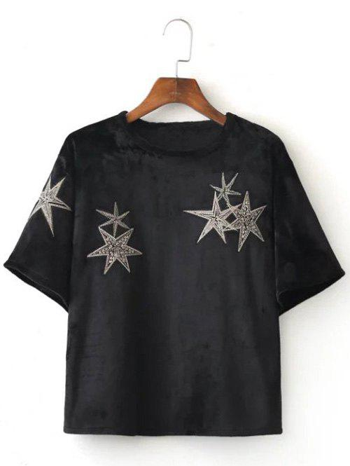 Unique Stars Embroidered Crop Tee Shirt