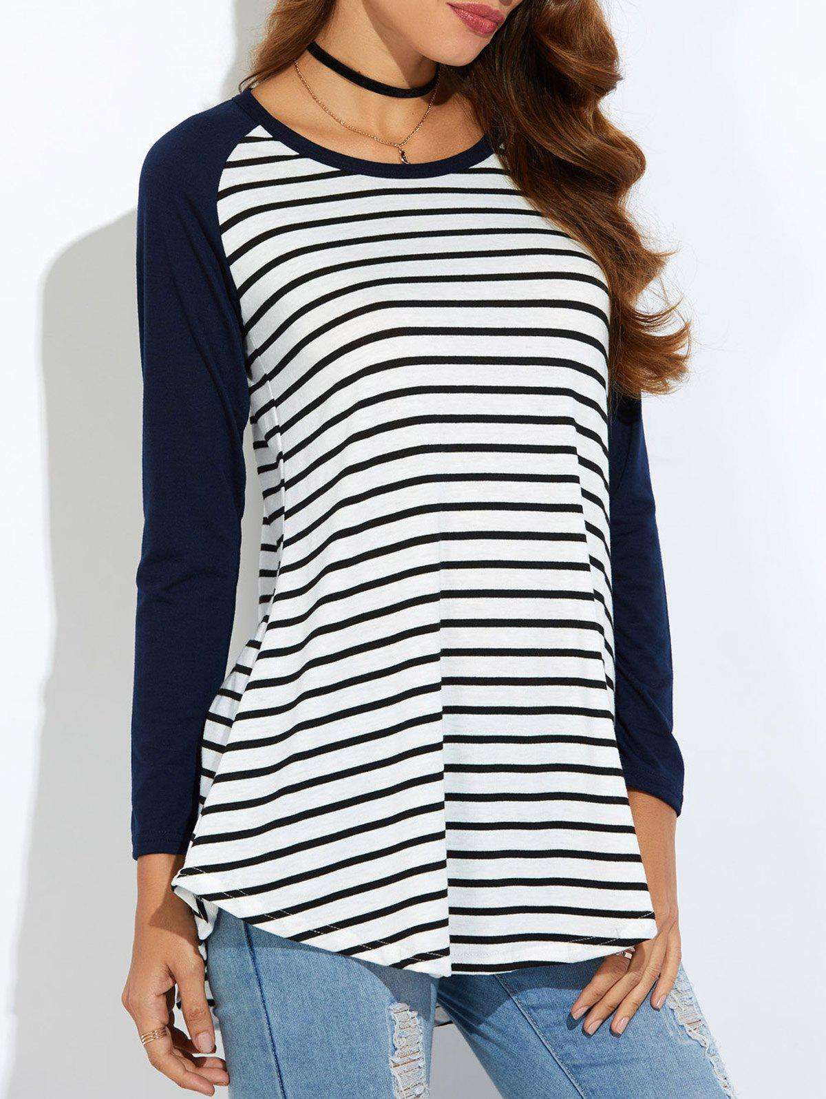 Discount Raglan Sleeve Asymmetric Striped T-Shirt