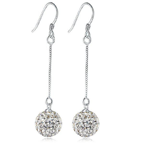 Rhinestone Ball Drop EarringsJEWELRY<br><br>Color: SILVER; Earring Type: Drop Earrings; Gender: For Women; Style: Noble and Elegant; Shape/Pattern: Ball; Length: 5.2CM; Weight: 0.030kg; Package Contents: 1 x Earring (Pair);
