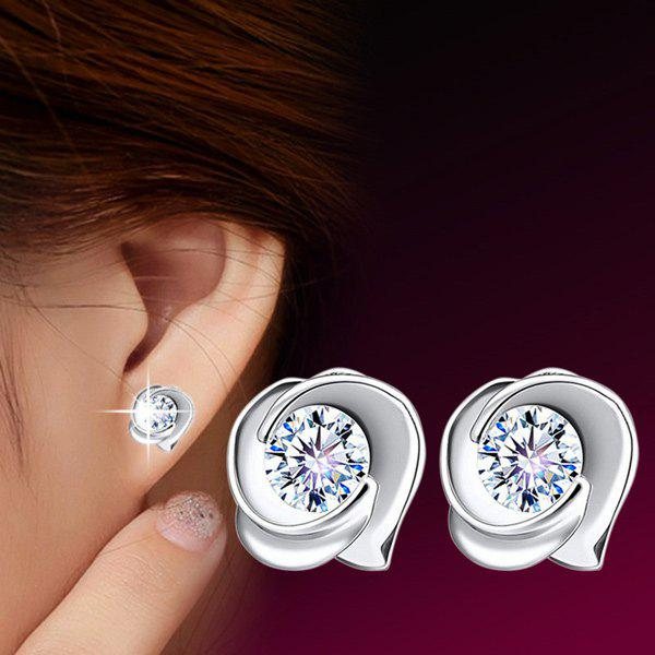 Fake Crystal Rose EarringsJEWELRY<br><br>Color: SILVER; Earring Type: Stud Earrings; Gender: For Women; Style: Trendy; Shape/Pattern: Floral; Length: 0.8CM; Weight: 0.020kg; Package Contents: 1 x Earring (Pair);