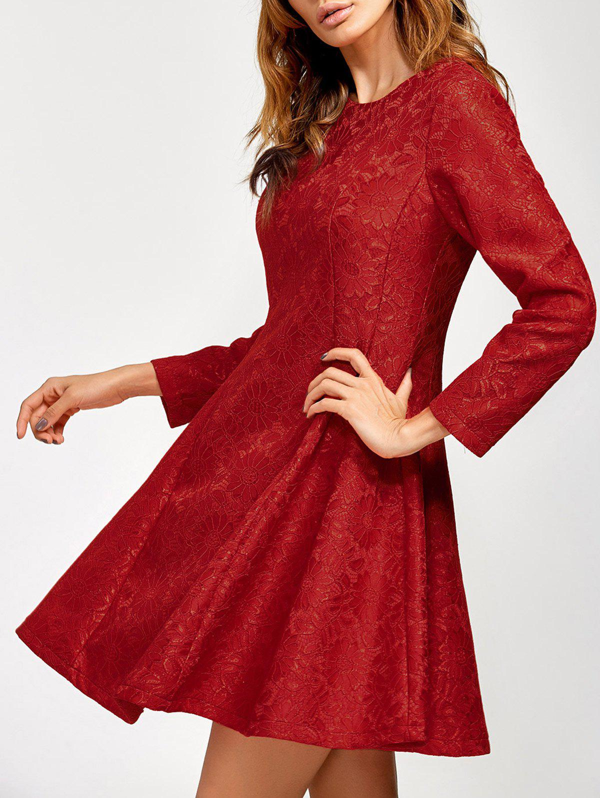 Discount Lace Insert Fit and Flare Dress