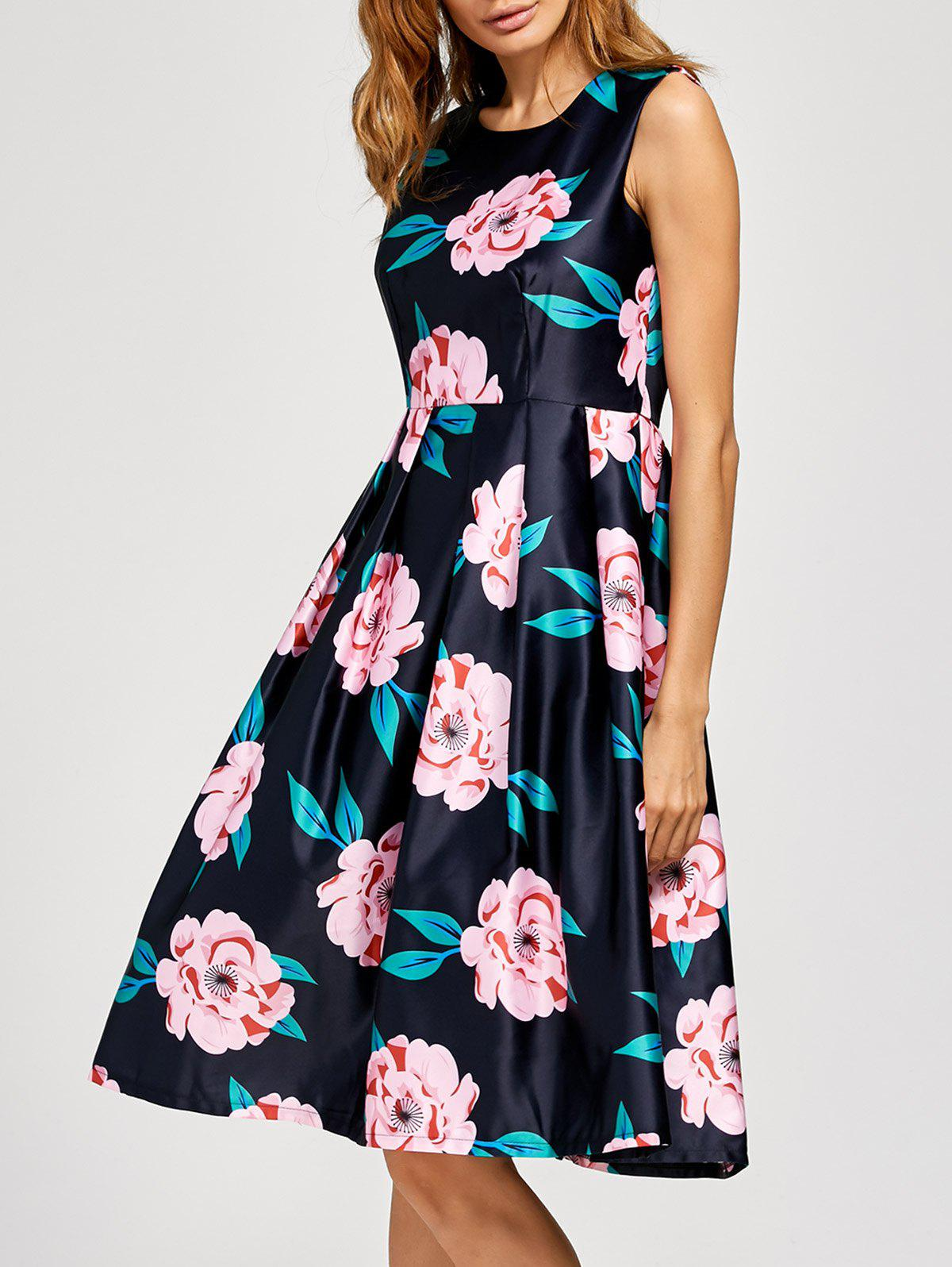 Hot Floral Fit And Flare Midi Dress