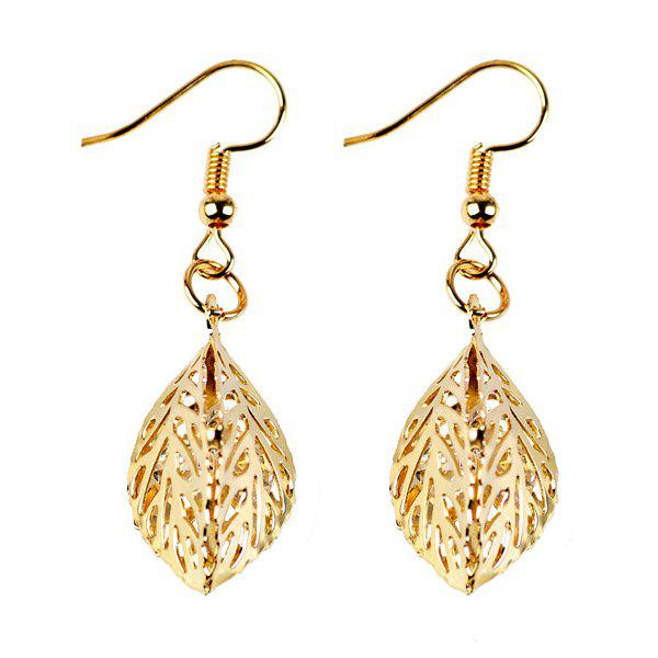 Outfits Rhinestone Filigree Leaf Drop Earrings