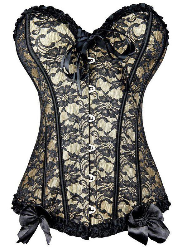 Bowknot Lace Steel Boned CorsetWOMEN<br><br>Size: M; Color: APRICOT; Material: Spandex; Pattern Type: Floral; Embellishment: Bowknot,Criss-Cross,Lace; Weight: 0.2700kg; Package Contents: 1 x Corset;