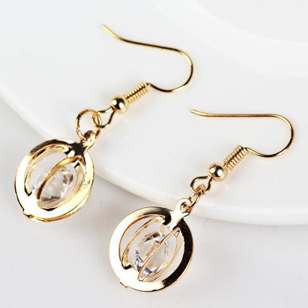 Faux Gem Circle Drop EarringsJEWELRY<br><br>Color: GOLDEN; Earring Type: Drop Earrings; Gender: For Women; Style: Noble and Elegant; Shape/Pattern: Solid; Length: 4CM; Weight: 0.020kg; Package Contents: 1 x Earring (Pair);