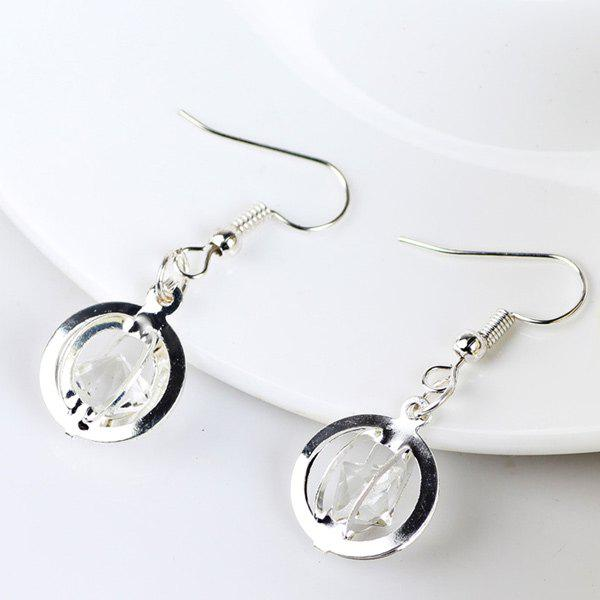 Online Faux Gem Circle Drop Earrings