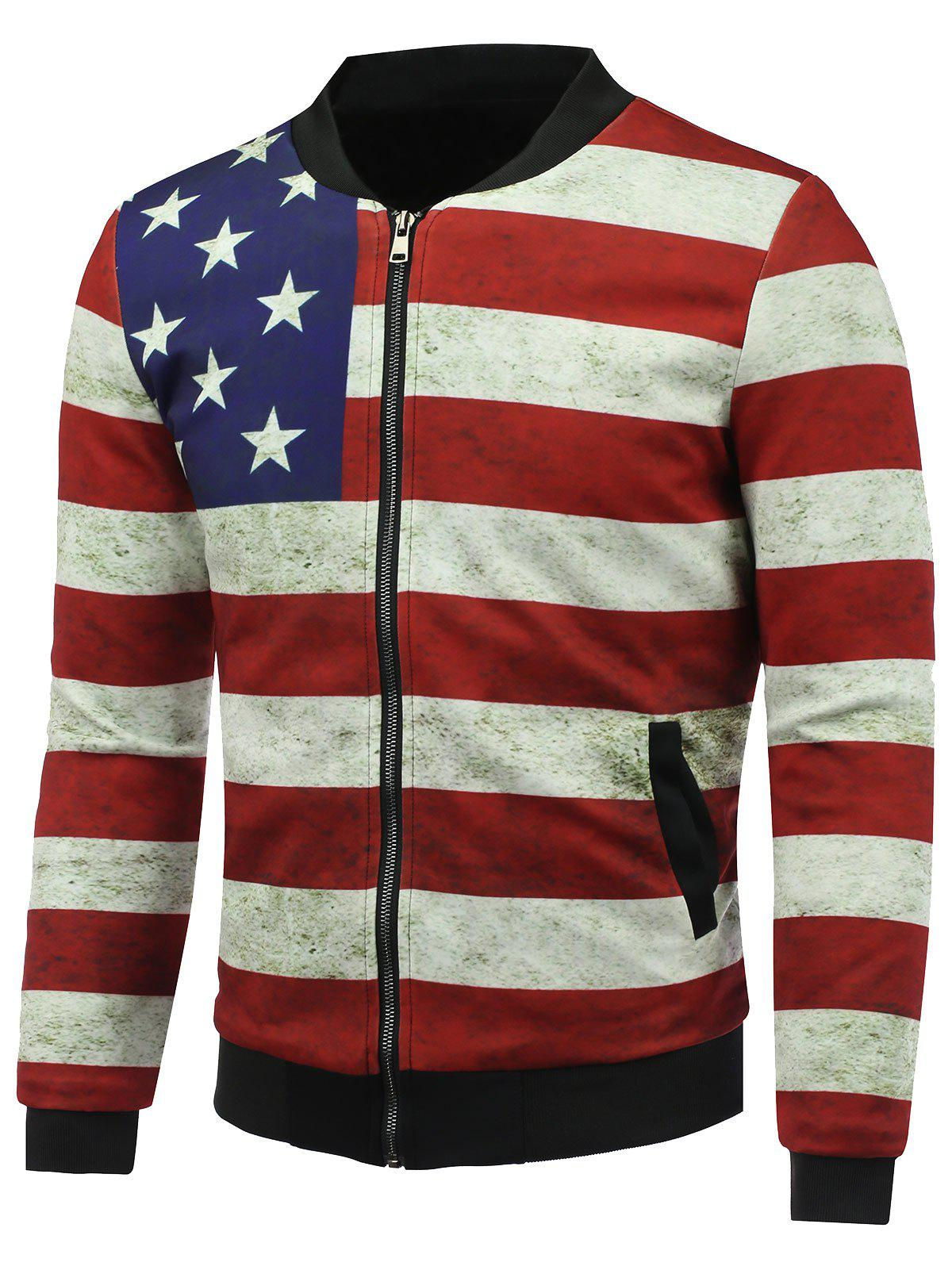Fancy Distressed American Flag Print Zip Up Padded Jacket