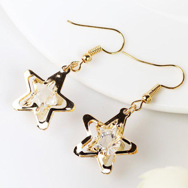 Faux Gem Star Drop EarringsJEWELRY<br><br>Color: GOLDEN; Earring Type: Drop Earrings; Gender: For Women; Style: Noble and Elegant; Shape/Pattern: Star; Length: 4.3CM; Weight: 0.030kg; Package Contents: 1 x Earring (Pair);
