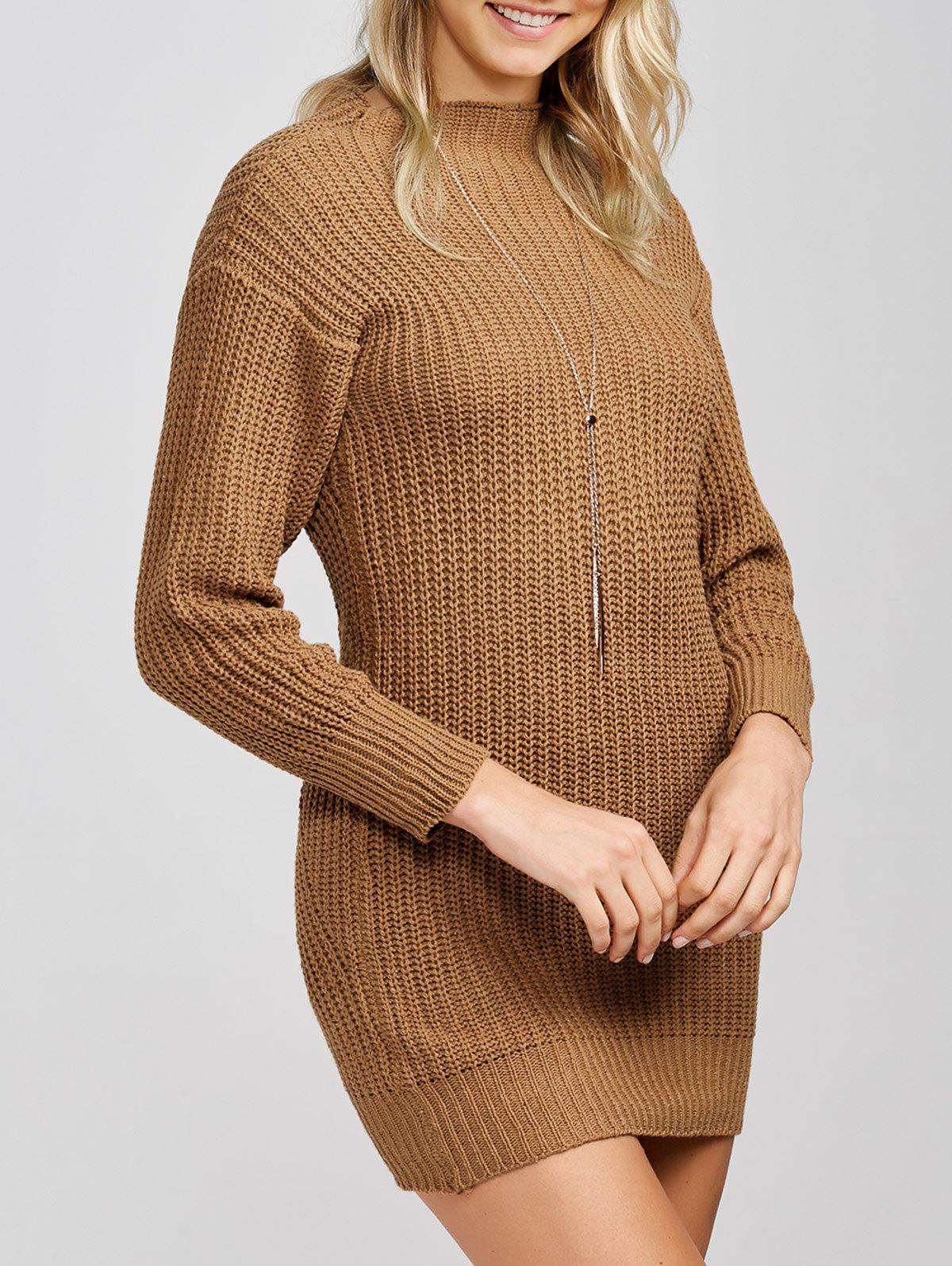 New Mock Neck Knit Slimming Sweater Dress