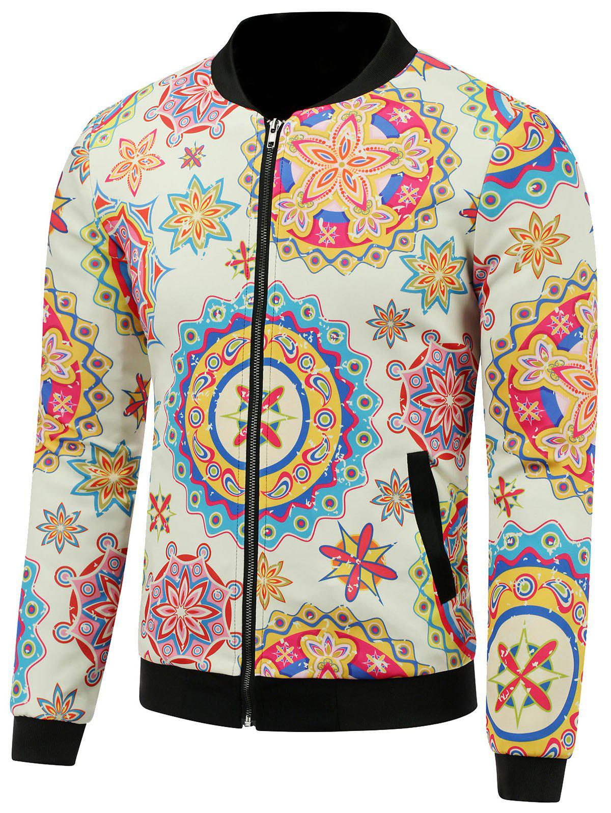 39eca11876a0f Unique Stand Collar 3D Colorful Palace Florals Print Zip Up Padded Jacket