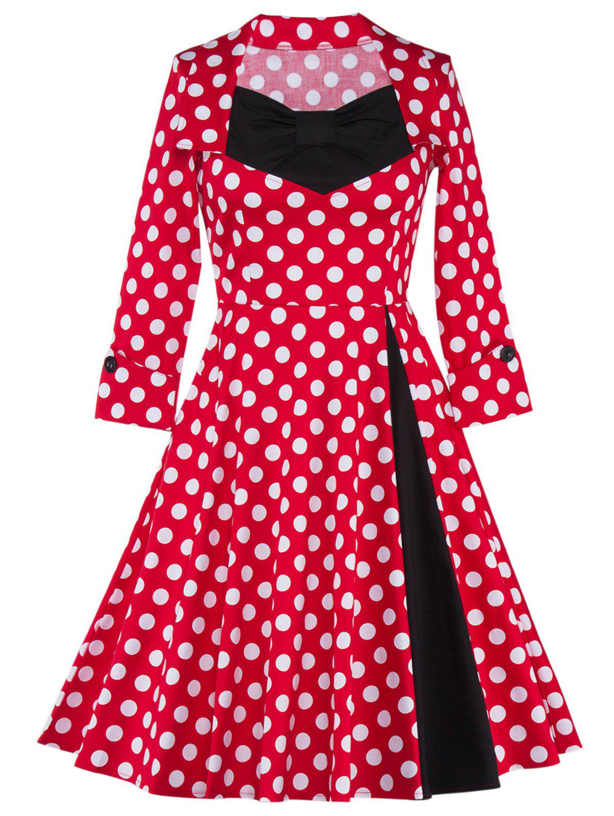 Online Bowknot Polka Dot Insert Swing Dress