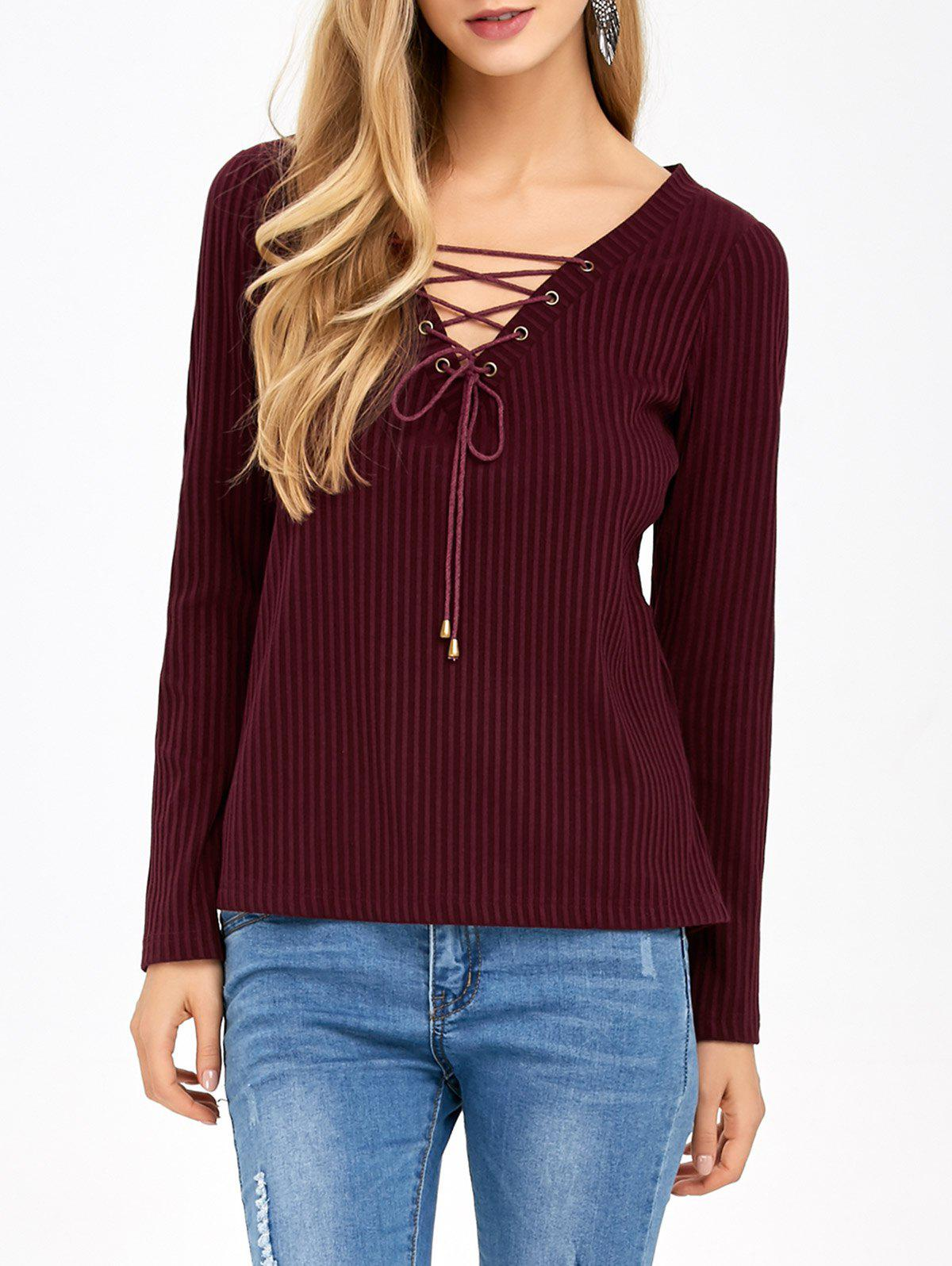 Outfits Lace-Up Elbow Patch Knitwear