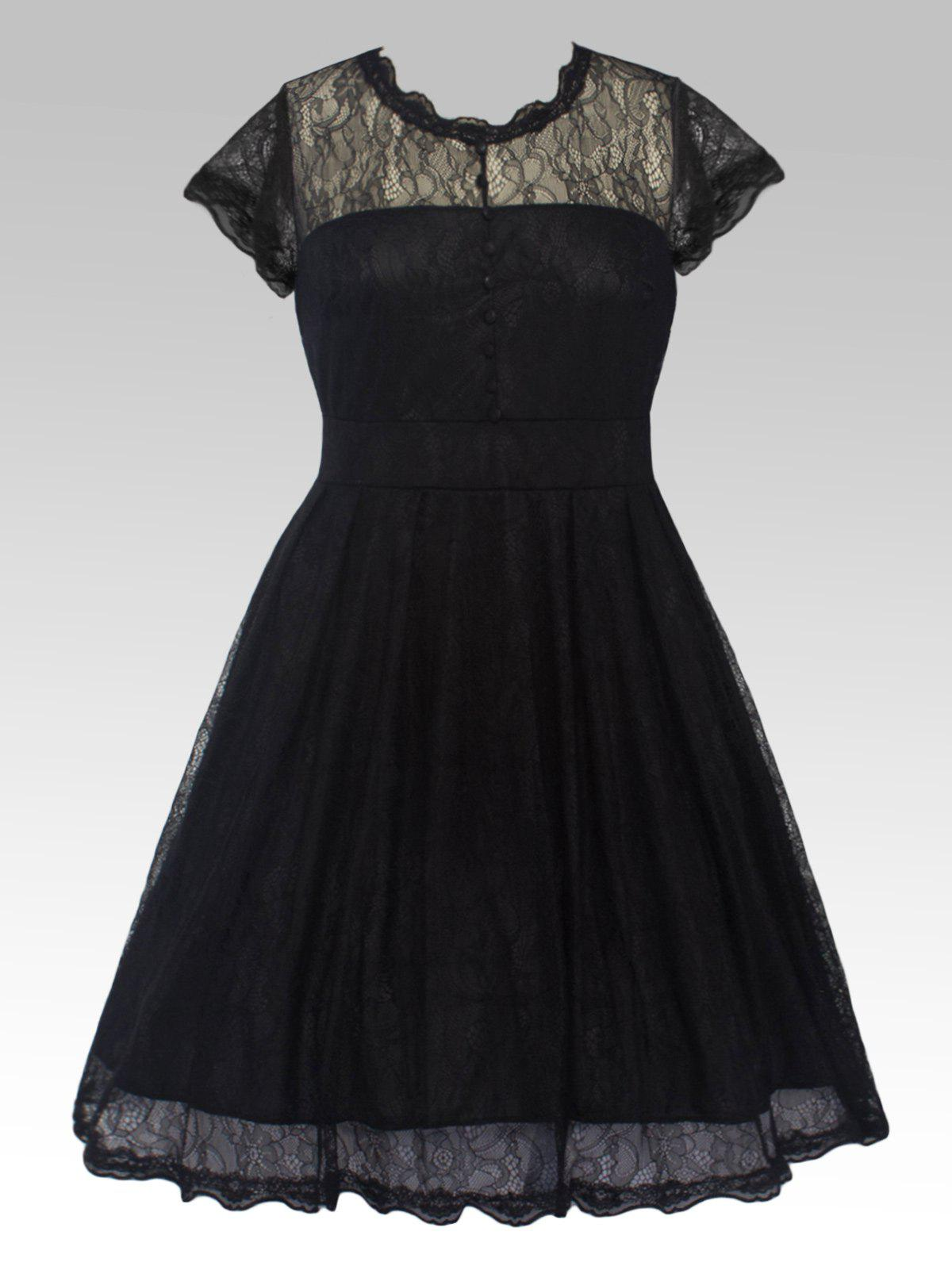 Buttoned Swing Vintage Plus Size A Line Lace DressWOMEN<br><br>Size: 5XL; Color: BLACK; Style: Vintage; Material: Lace,Polyester; Silhouette: A-Line; Dresses Length: Knee-Length; Neckline: Ruffled; Sleeve Length: Short Sleeves; Embellishment: Lace; Pattern Type: Floral; With Belt: No; Season: Fall,Spring,Summer; Weight: 0.3200kg; Package Contents: 1 x Dress;