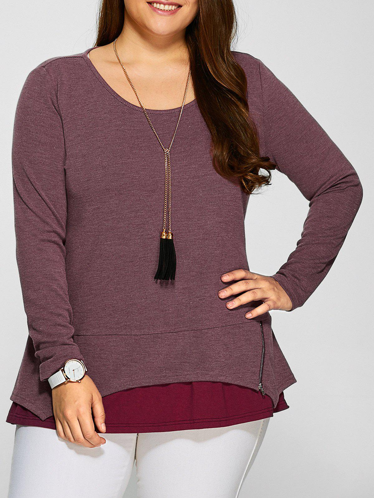 Outfit Plus Size Zipper Embellished Layered Pullover