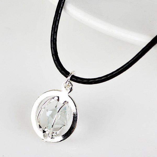 PU Leather Rope Rhinestone Circle NecklaceJEWELRY<br><br>Color: SILVER; Item Type: Pendant Necklace; Gender: For Women; Style: Noble and Elegant; Shape/Pattern: Round; Weight: 0.030kg; Package Contents: 1 x Necklace;