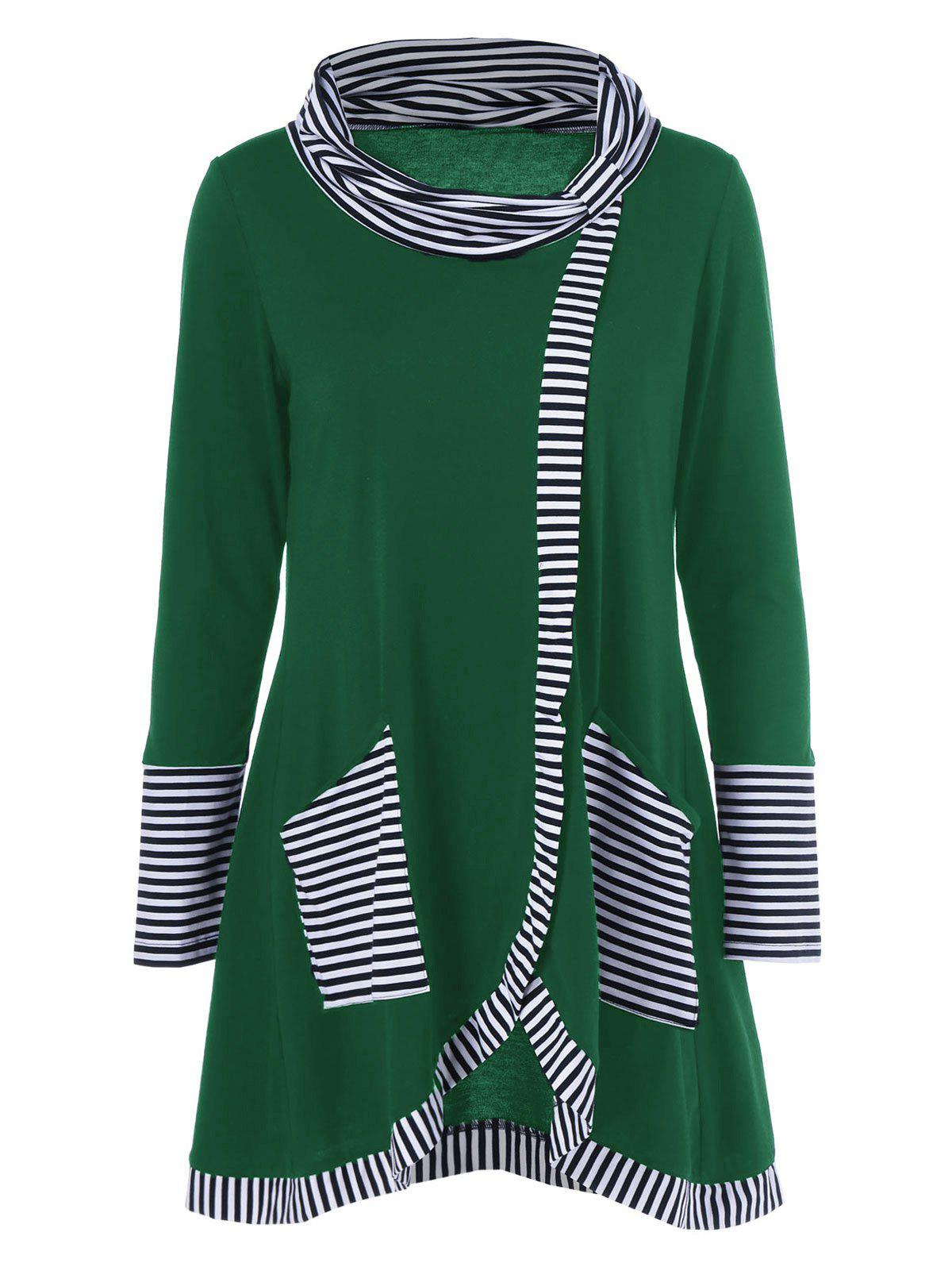 Pinstriped Patchwork Pockets Design TeeWOMEN<br><br>Size: XL; Color: DEEP GREEN; Material: Polyester; Sleeve Length: Full; Collar: Cowl Neck; Style: Casual; Pattern Type: Striped; Season: Fall,Spring; Weight: 0.380kg; Package Contents: 1 x Tee;