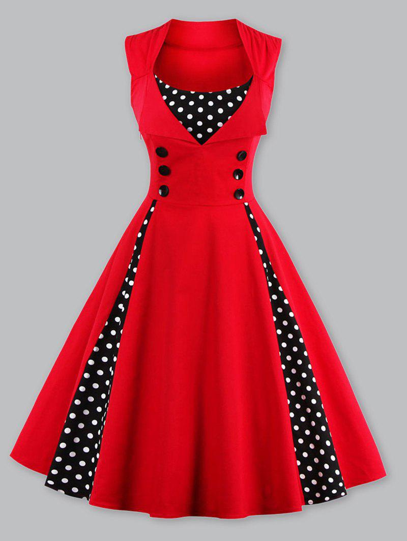 1950 Polka Dot Plus Size Panel Prom DressWOMEN<br><br>Size: 4XL; Color: RED; Style: Vintage; Material: Polyester; Silhouette: A-Line; Dresses Length: Knee-Length; Neckline: Scoop Neck; Sleeve Length: Sleeveless; Embellishment: Spliced; Pattern Type: Polka Dot; With Belt: No; Season: Fall,Spring,Summer; Weight: 0.3200kg; Package Contents: 1 x Dress;