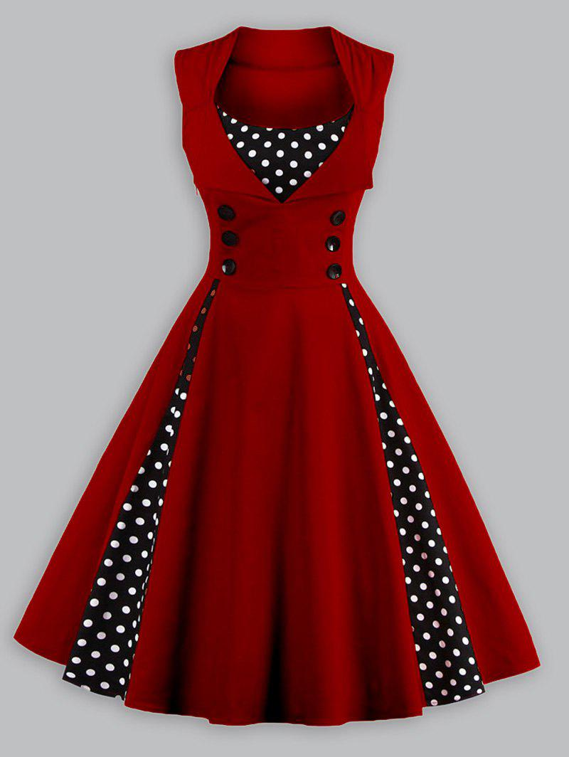 1950 Polka Dot Plus Size Panel Prom DressWOMEN<br><br>Size: 4XL; Color: WINE RED; Style: Vintage; Material: Polyester; Silhouette: A-Line; Dresses Length: Knee-Length; Neckline: Scoop Neck; Sleeve Length: Sleeveless; Embellishment: Spliced; Pattern Type: Polka Dot; With Belt: No; Season: Fall,Spring,Summer; Weight: 0.3200kg; Package Contents: 1 x Dress;