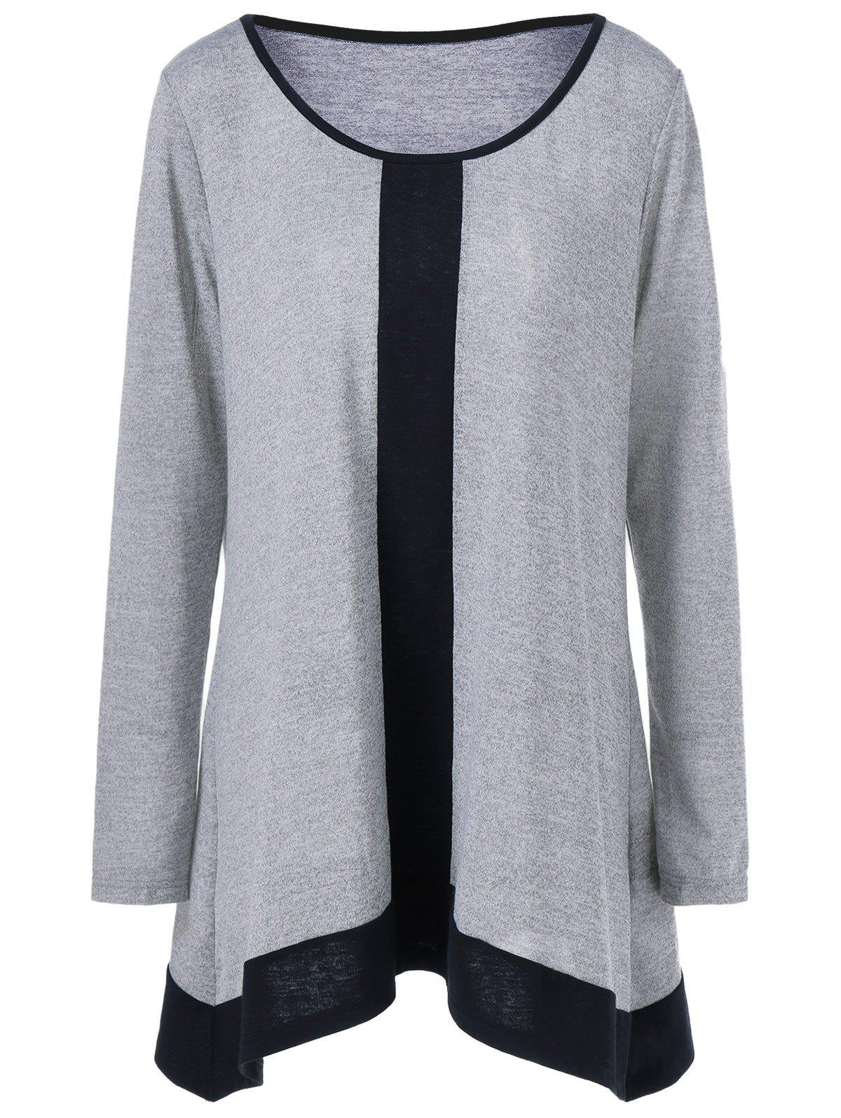 Plus Size Contrast Trim T-ShirtWOMEN<br><br>Size: XL; Color: LIGHT GREY; Material: Polyester,Spandex; Shirt Length: Long; Sleeve Length: Full; Collar: Scoop Neck; Style: Casual; Season: Fall,Spring; Pattern Type: Solid; Weight: 0.390kg; Package Contents: 1 x T-Shirt;