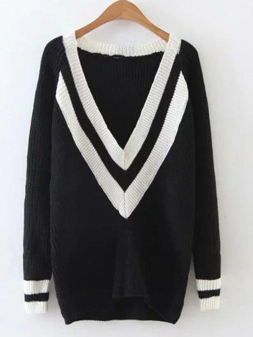 Affordable Ribbed  Plunge Neck Cricket Sweater