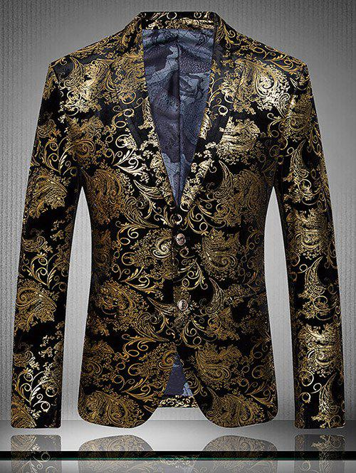 Outfit Golden Flower Print Lapel Long Sleeve Blazer For Men