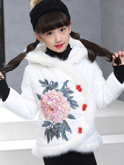 Buy Girls Hooded Floral Embroidered Jacket