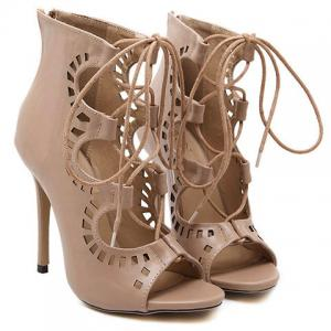 Fashion Lace-Up and Hollow Out Design Peep Toe Shoes For Women -