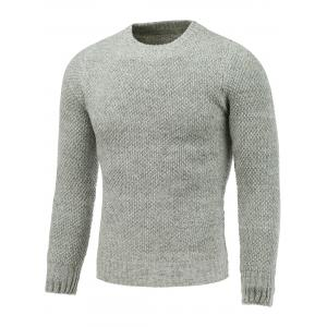 Crew Neck Heather Tweed Pullover Sweater - Light Gray - 2xl
