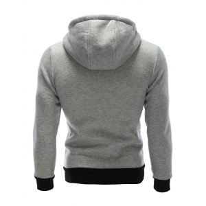 Zipper Embellished Patchwork Hoodie with Pockets - GRAY XL