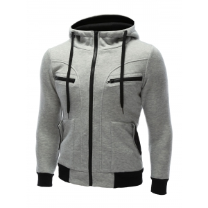 Zipper Embellished Patchwork Hoodie with Pockets -