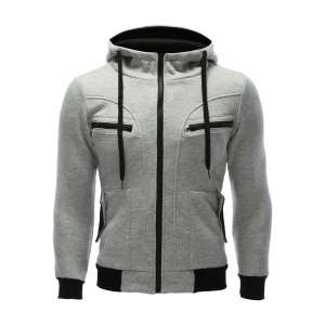 Zipper Embellished Patchwork Hoodie with Pockets - Gray - S
