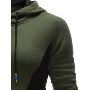Color Splicing PU Leather Embellished Hoodie - ARMY GREEN XL