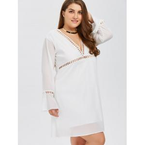 Plus Size Flare Sleeves Low Cut A LineSwing Dress - WHITE 5XL