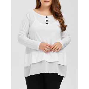 Plus Size Buttons and Flounce Embellished T-Shirt - White - 3xl