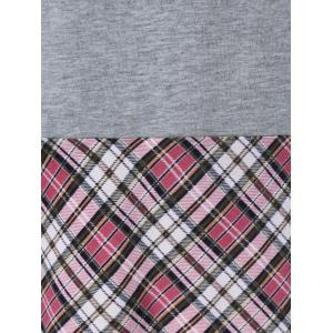 Drop Shoulder Plaid Trim Tee -