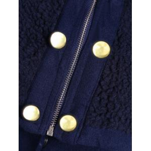 Stylish Hooded Long Sleeves Zippered Pocket Design Women's Coat - CADETBLUE M
