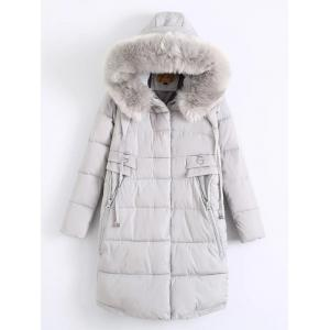 Fur Hooded Padded Coat - Light Gray - M